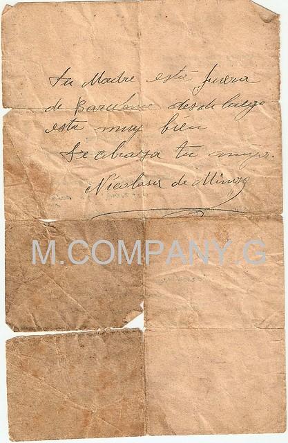 El prisionero pasado un tiempo recibió la contestación escrita al dorso