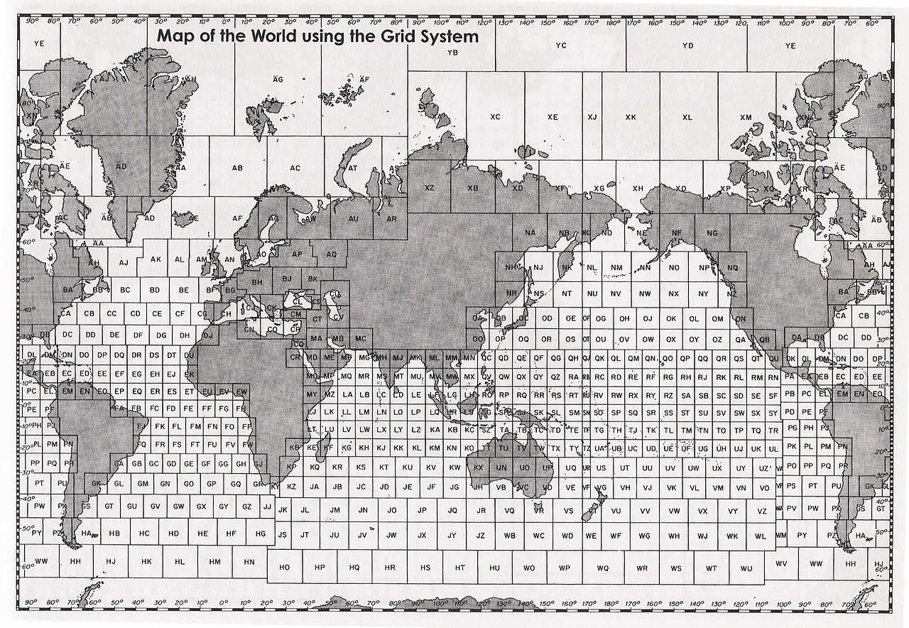 Mapamundi con todos los cuadrantes de las cartas de navegación alemanas