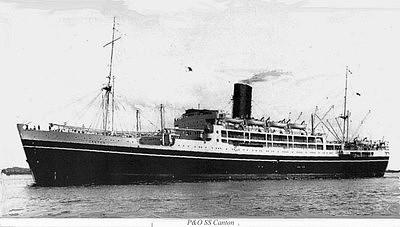 El SS Cantón en su época de buque civil de pasaje