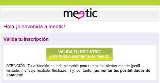 confirma registro en meetic