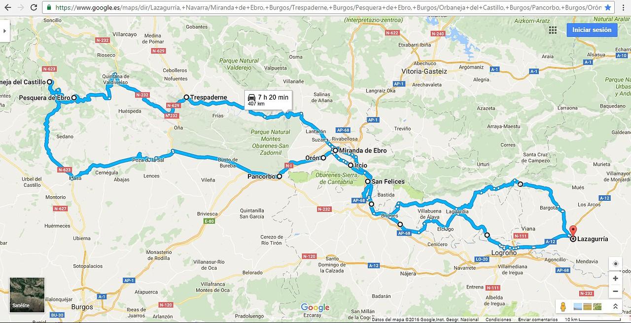 Mapa Orbaneja Del Castillo Burgos.Africa Twin Club Espana Parque Del Alto Ebro Burgos Alava