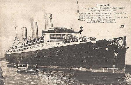 El HMS Caledonia cuando era el SS Bismarck, el trasatlántico mas grande mundo, era mas grande que el futuro acorazado DKM Bismarck