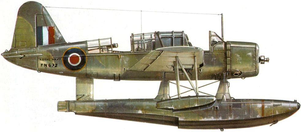 Hidroavión OS2U Kingfisher como los que llevaba el HMS Fidelity