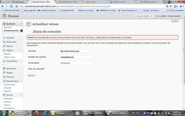 Wordpress: Instalar Tema / Actualizaciones [Error de conexión al ...