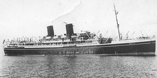 El SS Maloja antes de la guerra como buque civil de pasaje