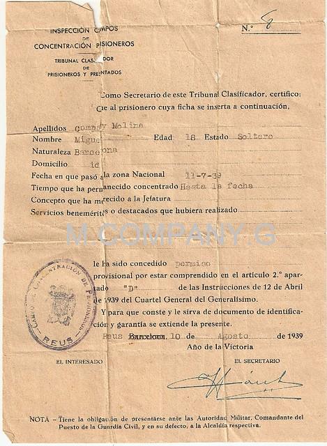 Certificado de permiso de salida del campo de prisioneros de Reus