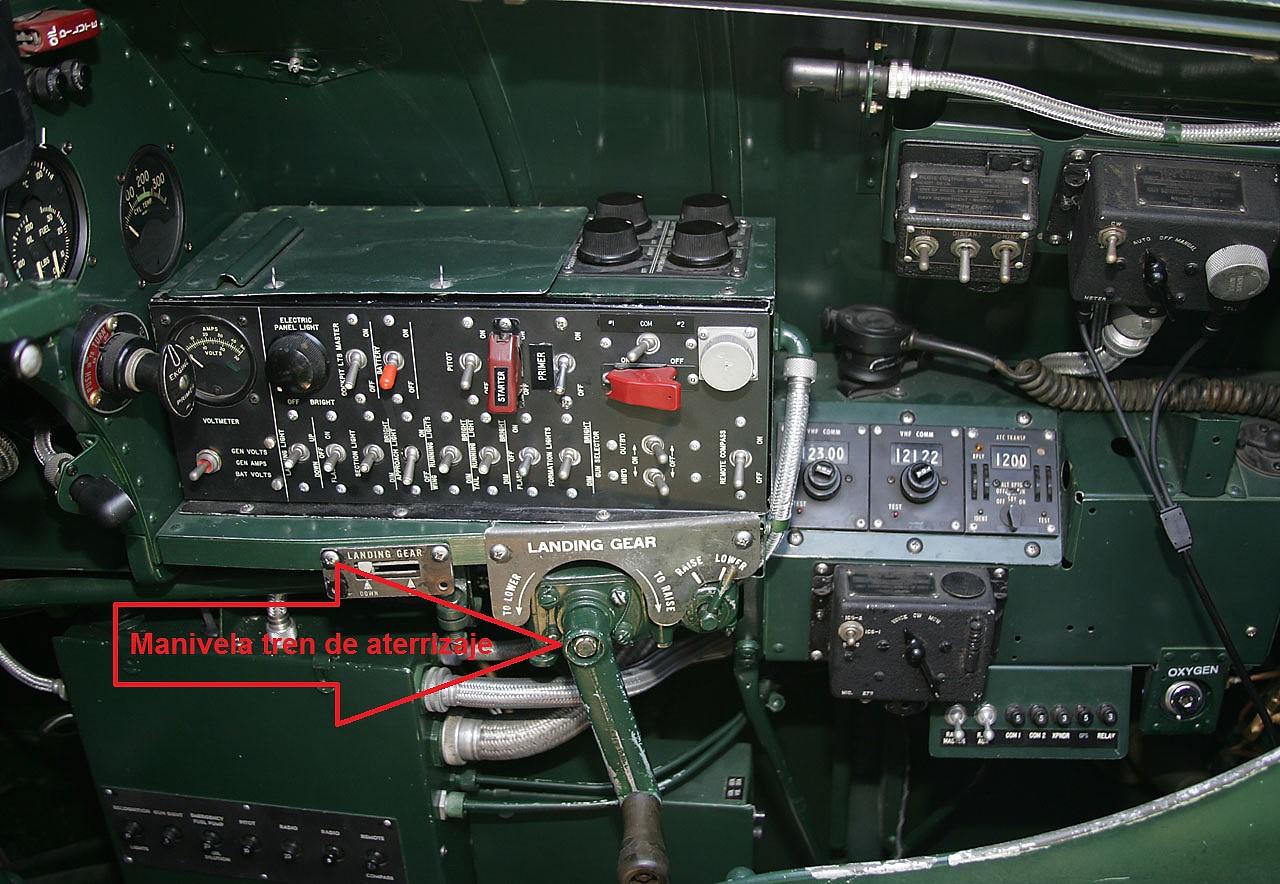 Manivela de accionamiento manual del tren de aterrizaje