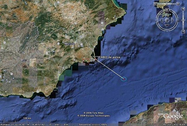 Rutas seguidas por el U-573 en su paso de estrecho y su situación cuando fue atacado