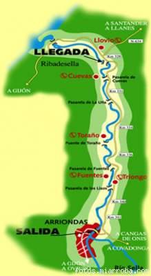 Itinerario del descenso del Sella