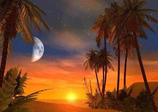 Luna en desierto rojo