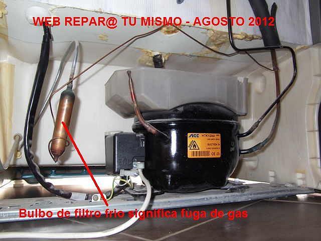 Bulbo de filtro frio significa fuga de gas