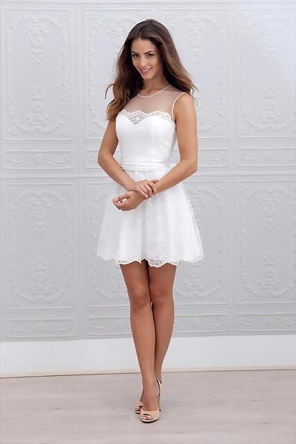 Estilo de Pelo Largo Sensual para vestidos de Novia Cortos