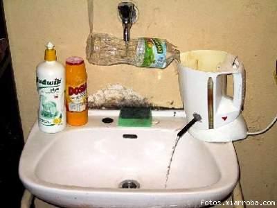 Ahorrador-calentador de agua escaza.