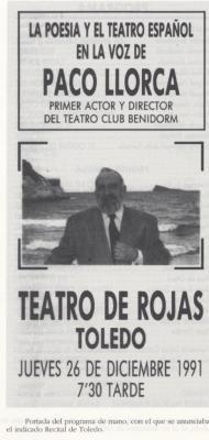 Programa Recital en Teatro De Rojas
