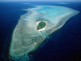 Aerial of Heron Island, Great Barrier Reef Marine Park, Queensland, Australia