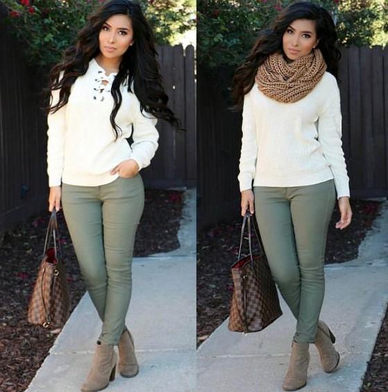 Moda joven Mujer Pantalones Vaqueros Musgo