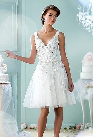 Peinados con Vestidos de novia cortos Recogido con Volumen y Raya