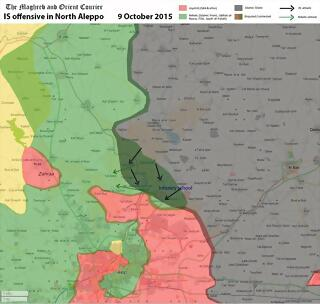 Map Syria Aleppo Daesh offensive 8Oct15