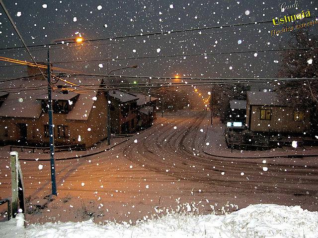 Nieve en Ushuaia, Tierra del Fuego, Patagonia