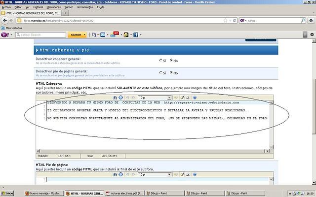 html tal como se configura ahora