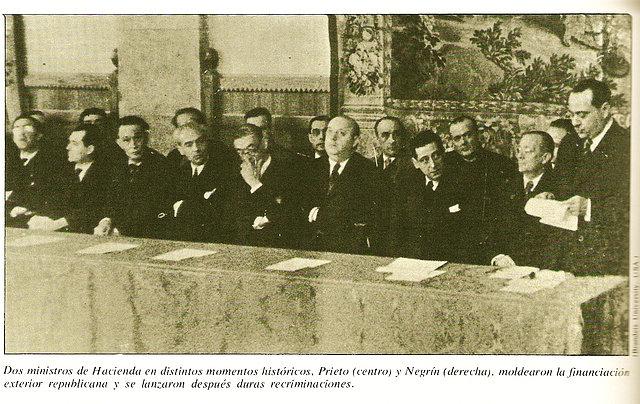 dos ministros de hacienda Prieto y Negrin.