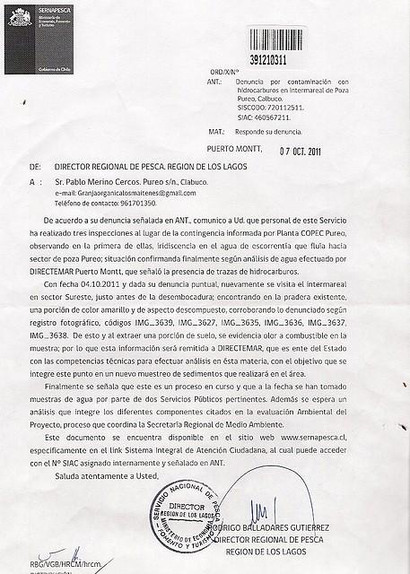 Respuesta consulta SERNAPESCA