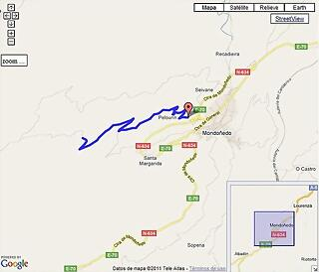 Padornelo por Pelourín mapa