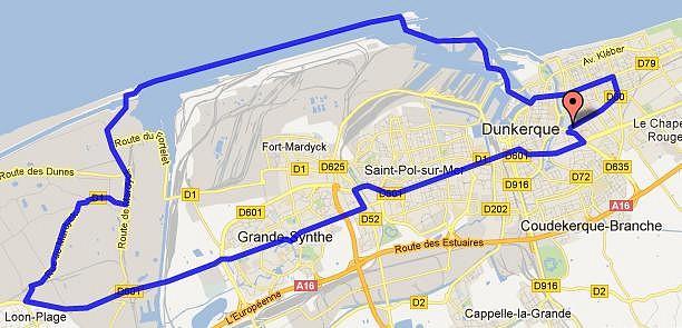 Mapa Dunkerke
