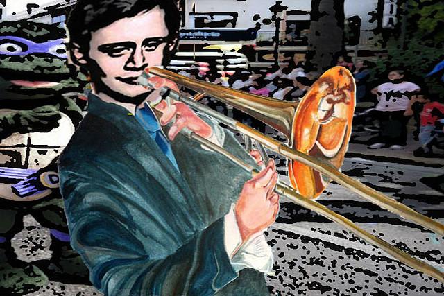 Kazle tocando trombón