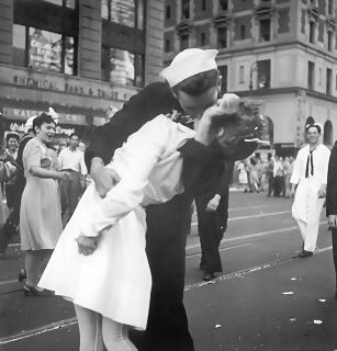 August 14, 1945 A sailor and a nurse kiss passionately in Manhattan's Times Square, as New York City celebrates the end of World War II. The celebration followed the official announcement that Japan had accep