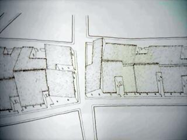 Detalle de calle y casas.