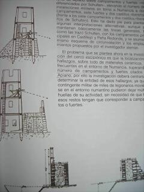 Detalle de torre romana y catapulta.