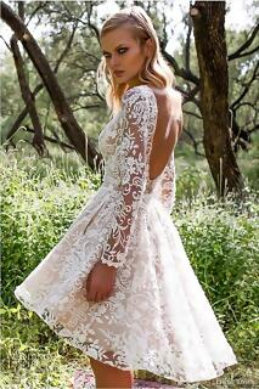 Peinados con Vestidos de novia cortos Mechas