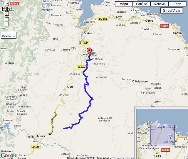 Rego Seco por Chavín-Silán mapa