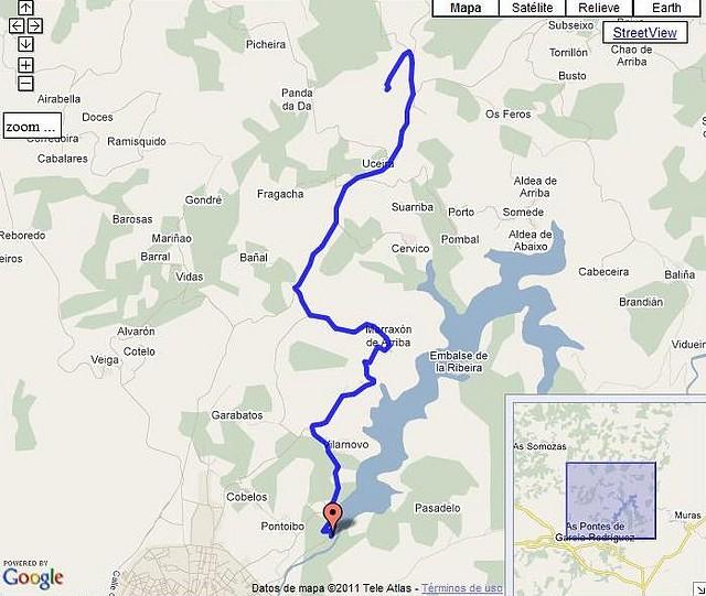 Alto do Caxado por Embalse da Ribeira-Marraxón mapa