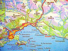 Mapa de Ushuaia y sus alrededores